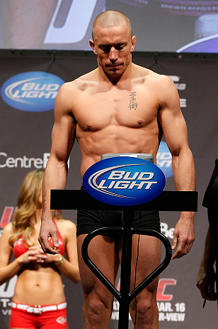 MONTREAL, QC - MARCH 15: Georges St-Pierre during the UFC 158 weigh-in at Bell Centre on March 15, 2013 in Montreal, Quebec, Canada.  (Photo by Josh Hedges/Zuffa LLC/Zuffa LLC via Getty Images)