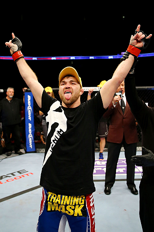 NEWARK, NJ - APRIL 27:  Bryan Caraway celebrates winning by submission (guillotine choke) against Johnny Bedford in their bantamweight bout during the UFC 159 event at the Prudential Center on April 27, 2013 in Newark, New Jersey.  (Photo by Al Bello/Zuffa LLC/Zuffa LLC Via Getty Images)