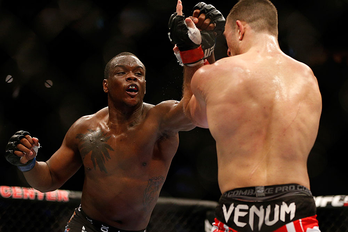 NEWARK, NJ - APRIL 27:   (L-R) Ovince Saint Preux punches Gian Villante in their light heavyweight fight during the UFC 159 event at the Prudential Center on April 27, 2013 in Newark, New Jersey.  (Photo by Josh Hedges/Zuffa LLC/Zuffa LLC via Getty Images)