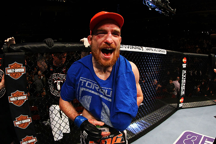 NEWARK, NJ - APRIL 27:  Pat Healy celebrates defeating Jim Miller by Technical Submission (rear-naked choke) in their lightweight bout during the UFC 159 event at the Prudential Center on April 27, 2013 in Newark, New Jersey.  (Photo by Al Bello/Zuffa LLC/Zuffa LLC Via Getty Images)