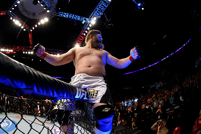 Roy Nelson celebrates his win by knockout against Cheick Kongo of