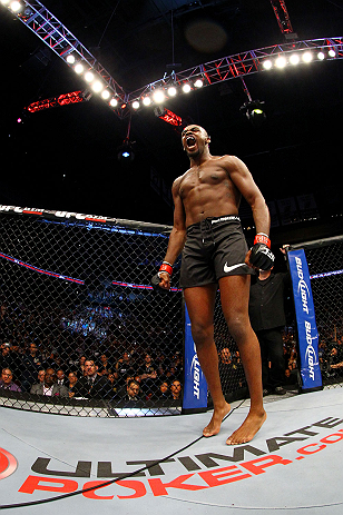 NEWARK, NJ - APRIL 27: Jon Jones cheers before fighting against Chael Sonnen in their light heavyweight championship bout during the UFC 159 event at the Prudential Center on April 27, 2013 in Newark, New Jersey.  (Photo by Al Bello/Zuffa LLC/Zuffa LLC Via Getty Images)