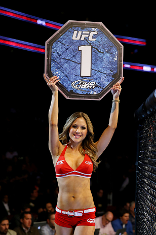 NEWARK, NJ - APRIL 27: Octagon girl Brittney Palmer is seen during the featherweight bout between Leonard Garcia and Cody McKenzie during the UFC 159 event at the Prudential Center on April 27, 2013 in Newark, New Jersey.  (Photo by Al Bello/Zuffa LLC/Zuffa LLC Via Getty Images)