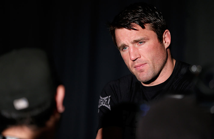 NEW YORK, NY - APRIL 25:   Chael Sonnen interacts with media during UFC 159 media day at The Theater at Madison Square Garden on April 25, 2013 in New York City.  (Photo by Josh Hedges/Zuffa LLC/Zuffa LLC via Getty Images)
