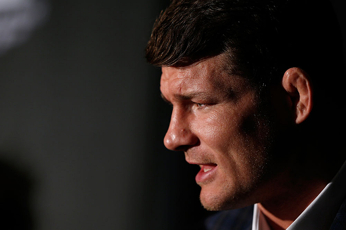 NEW YORK, NY - APRIL 25:   Michael Bisping interacts with media during UFC 159 media day at The Theater at Madison Square Garden on April 25, 2013 in New York City.  (Photo by Josh Hedges/Zuffa LLC/Zuffa LLC via Getty Images)