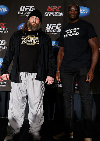 NEW YORK, NY - APRIL 25:   (L-R) Opponents Roy Nelson and Cheick Kongo pose for photos during UFC 159 media day at The Theater at Madison Square Garden on April 25, 2013 in New York City.  (Photo by Josh Hedges/Zuffa LLC/Zuffa LLC via Getty Images)
