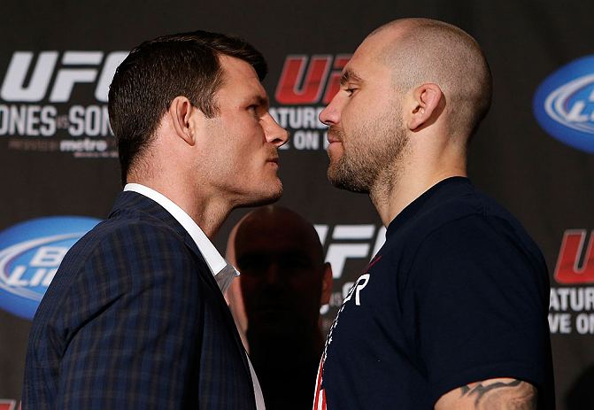 NEW YORK, NY - APRIL 25:   (L-R) Opponents Michael Bisping and Alan Belcher face off during UFC 159 media day at The Theater at Madison Square Garden on April 25, 2013 in New York City.  (Photo by Josh Hedges/Zuffa LLC/Zuffa LLC via Getty Images)