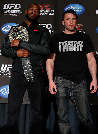 "NEW YORK, NY - APRIL 25:   (L-R) Opponents UFC Light Heavyweight Champion Jon ""Bones"" Jones and Chael Sonnen pose for photos during UFC 159 media day at The Theater at Madison Square Garden on April 25, 2013 in New York City.  (Photo by Josh Hedges/Zuffa LLC/Zuffa LLC via Getty Images)"