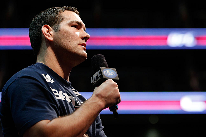 NEWARK, NJ - APRIL 26:   Chris Weidman interacts with fans during a Q&A session before the UFC 159 weigh-in event at the Prudential Center on April 26, 2013 in Newark, New Jersey.  (Photo by Josh Hedges/Zuffa LLC/Zuffa LLC via Getty Images)