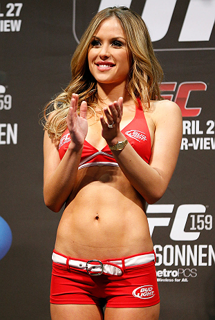 NEWARK, NJ - APRIL 26:   UFC Octagon Girl Brittney Palmer stands on stage during the UFC 159 weigh-in event at the Prudential Center on April 26, 2013 in Newark, New Jersey.  (Photo by Josh Hedges/Zuffa LLC/Zuffa LLC via Getty Images)