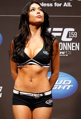 NEWARK, NJ - APRIL 26:   UFC Octagon Girl Arianny Celeste stands on stage during the UFC 159 weigh-in event at the Prudential Center on April 26, 2013 in Newark, New Jersey.  (Photo by Josh Hedges/Zuffa LLC/Zuffa LLC via Getty Images)