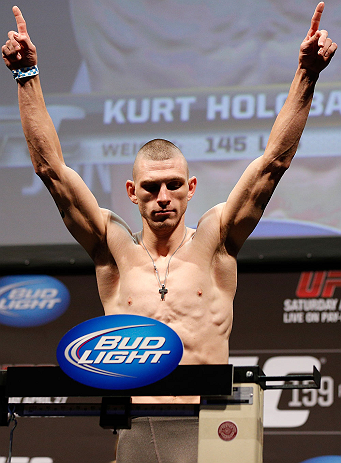 NEWARK, NJ - APRIL 26:   Kurt Holobaugh weighs in during the UFC 159 weigh-in event at the Prudential Center on April 26, 2013 in Newark, New Jersey.  (Photo by Josh Hedges/Zuffa LLC/Zuffa LLC via Getty Images)