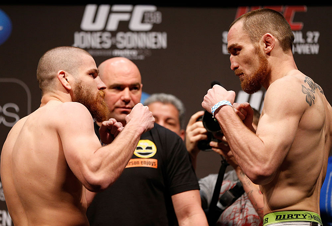 NEWARK, NJ - APRIL 26:   (L-R) Opponents Jim Miller and Pat Healy face off during the UFC 159 weigh-in event at the Prudential Center on April 26, 2013 in Newark, New Jersey.  (Photo by Josh Hedges/Zuffa LLC/Zuffa LLC via Getty Images)