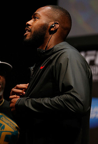 "NEWARK, NJ - APRIL 26:   UFC Light Heavyweight Champion Jon ""Bones"" Jones prepares to weigh in during the UFC 159 weigh-in event at the Prudential Center on April 26, 2013 in Newark, New Jersey.  (Photo by Josh Hedges/Zuffa LLC/Zuffa LLC via Getty Images)"