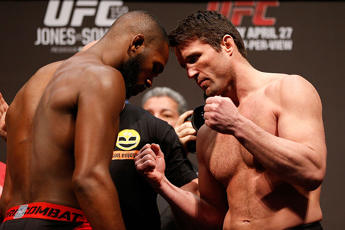 "NEWARK, NJ - APRIL 26:   (L-R) Opponents UFC Light Heavyweight Champion Jon ""Bones"" Jones and Chael Sonnen face off during the UFC 159 weigh-in event at the Prudential Center on April 26, 2013 in Newark, New Jersey.  (Photo by Josh Hedges/Zuffa LLC/Zuffa LLC via Getty Images)"