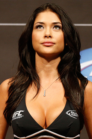 LAS VEGAS, NV - MAY 24:   UFC Octagon Girl Arianny Celeste stands on stage during the UFC 160 weigh-in at the MGM Grand Garden Arena on May 24, 2013 in Las Vegas, Nevada.  (Photo by Josh Hedges/Zuffa LLC/Zuffa LLC via Getty Images)