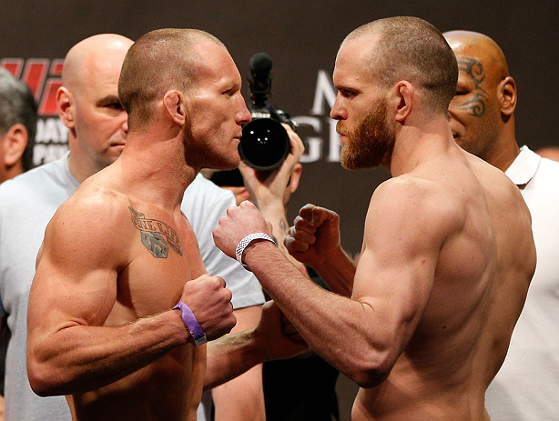 LAS VEGAS, NV - MAY 24:   (L-R) Opponents Gray Maynard and T.J. Grant face off during the UFC 160 weigh-in at the MGM Grand Garden Arena on May 24, 2013 in Las Vegas, Nevada.  (Photo by Josh Hedges/Zuffa LLC/Zuffa LLC via Getty Images)