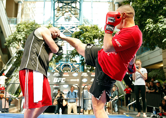 WINNIPEG, CANADA - JUNE 12:  Pat Barry holds an open workout session for fans and media at Portage Place on June 12, 2013 in Winnipeg, Manitoba, Canada.  (Photo by Josh Hedges/Zuffa LLC/Zuffa LLC via Getty Images)