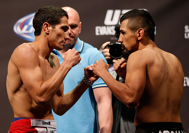 WINNIPEG, CANADA - JUNE 14:  (L-R) Opponents Roland Delorme and Edwin Figueroa face off during the UFC 161 weigh-in at the MTS Centre on June 14, 2013 in Winnipeg, Manitoba, Canada.  (Photo by Josh Hedges/Zuffa LLC/Zuffa LLC via Getty Images)