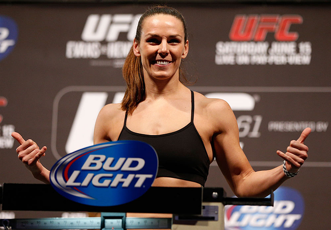 WINNIPEG, CANADA - JUNE 14:  Alexis Davis weighs in during the UFC 161 weigh-in at the MTS Centre on June 14, 2013 in Winnipeg, Manitoba, Canada.  (Photo by Josh Hedges/Zuffa LLC/Zuffa LLC via Getty Images)