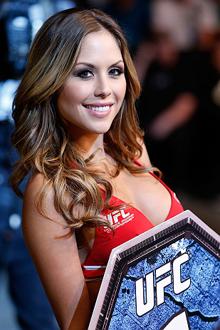 WINNIPEG, CANADA - JUNE 15:  UFC Octagon Girl Brittney Palmer poses for a portrait during the UFC 161 event at the MTS Centre on June 15, 2013 in Winnipeg, Manitoba, Canada.  (Photo by Josh Hedges/Zuffa LLC/Zuffa LLC via Getty Images)