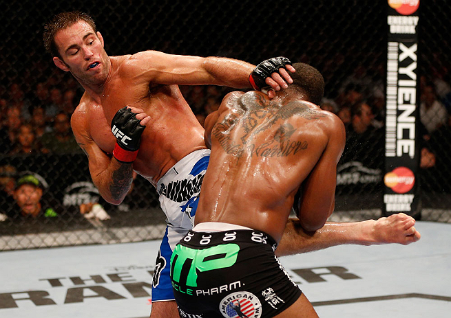 Jake Shields showed improved standup against Tyron Woodley