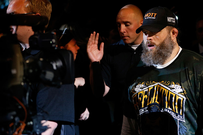 "WINNIPEG, CANADA - JUNE 15:  ""Big Country"" Roy Nelson enters the arena before his heavyweight fight against Stipe Miocic during the UFC 161 event at the MTS Centre on June 15, 2013 in Winnipeg, Manitoba, Canada.  (Photo by Josh Hedges/Zuffa LLC/Zuffa LLC via Getty Images)"