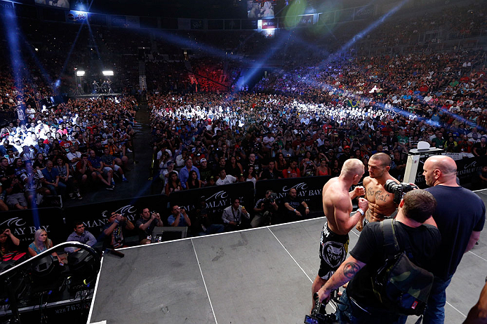 LAS VEGAS, NV - JULY 05:  A general view of the arena as opponents Dennis Siver and Cub Swanson face off during the UFC 162 weigh-in at the Mandalay Bay Events Center on July 5, 2013 in Las Vegas, Nevada.  (Photo by Josh Hedges/Zuffa LLC/Zuffa LLC via Getty Images)