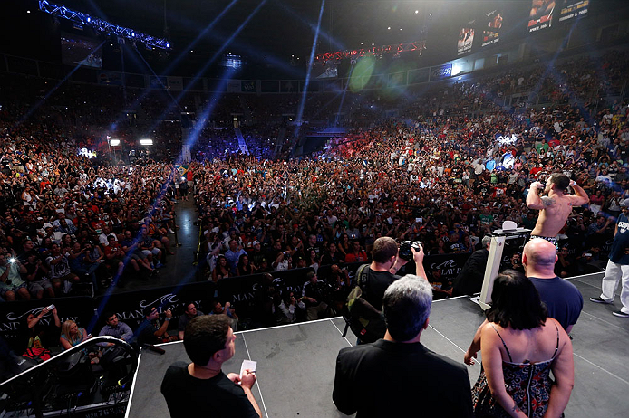 LAS VEGAS, NV - JULY 05:  A general view of the arena as Chris Weidman weighs in during the UFC 162 weigh-in at the Mandalay Bay Events Center on July 5, 2013 in Las Vegas, Nevada.  (Photo by Josh Hedges/Zuffa LLC/Zuffa LLC via Getty Images)