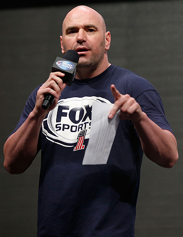 LAS VEGAS, NV - JULY 05:  UFC President Dana White addresses the fans before the UFC 162 weigh-in at the Mandalay Bay Events Center on July 5, 2013 in Las Vegas, Nevada.  (Photo by Josh Hedges/Zuffa LLC/Zuffa LLC via Getty Images)