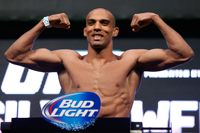 LAS VEGAS, NV - JULY 05:  Edson Barboza weighs in during the UFC 162 weigh-in at the Mandalay Bay Events Center on July 5, 2013 in Las Vegas, Nevada.  (Photo by Josh Hedges/Zuffa LLC/Zuffa LLC via Getty Images)