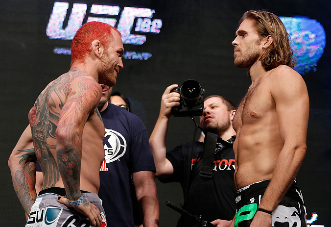 LAS VEGAS, NV - JULY 05:  (L-R) Opponents Chris Leben and Andrew Craig face off during the UFC 162 weigh-in at the Mandalay Bay Events Center on July 5, 2013 in Las Vegas, Nevada.  (Photo by Josh Hedges/Zuffa LLC/Zuffa LLC via Getty Images)