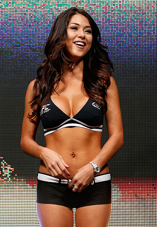 LAS VEGAS, NV - JULY 05:  UFC Octagon Girl Arianny Celeste stands on stage during the UFC 162 weigh-in at the Mandalay Bay Events Center on July 5, 2013 in Las Vegas, Nevada.  (Photo by Josh Hedges/Zuffa LLC/Zuffa LLC via Getty Images)