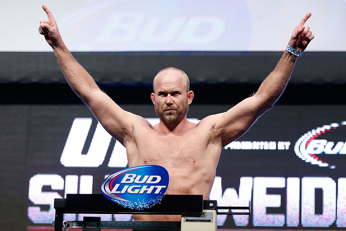 LAS VEGAS, NV - JULY 05:  Tim Boetsch weighs in during the UFC 162 weigh-in at the Mandalay Bay Events Center on July 5, 2013 in Las Vegas, Nevada.  (Photo by Josh Hedges/Zuffa LLC/Zuffa LLC via Getty Images)