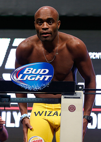 LAS VEGAS, NV - JULY 05:  Anderson Silva weighs in during the UFC 162 weigh-in at the Mandalay Bay Events Center on July 5, 2013 in Las Vegas, Nevada.  (Photo by Josh Hedges/Zuffa LLC/Zuffa LLC via Getty Images)