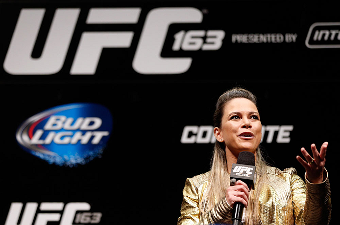RIO DE JANEIRO, BRAZIL - AUGUST 02:  UFC reporter Paula Sack hosts a Q&A session with former heavyweight champion Junior Dos Santos before the UFC 163 weigh-in at HSBC Arena on August 2, 2013 in Rio de Janeiro, Brazil. (Photo by Josh Hedges/Zuffa LLC/Zuffa LLC via Getty Images)
