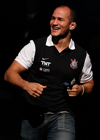 RIO DE JANEIRO, BRAZIL - AUGUST 02:  Former UFC heavyweight champion Junior Dos Santos greets fans during a Q&A session before the UFC 163 weigh-in at HSBC Arena on August 2, 2013 in Rio de Janeiro, Brazil. (Photo by Josh Hedges/Zuffa LLC/Zuffa LLC via Getty Images)
