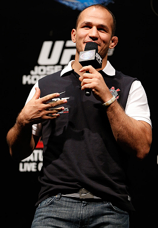 RIO DE JANEIRO, BRAZIL - AUGUST 02:  Former UFC heavyweight champion Junior Dos Santos interacts with fans during a Q&A session before the UFC 163 weigh-in at HSBC Arena on August 2, 2013 in Rio de Janeiro, Brazil. (Photo by Josh Hedges/Zuffa LLC/Zuffa LLC via Getty Images)