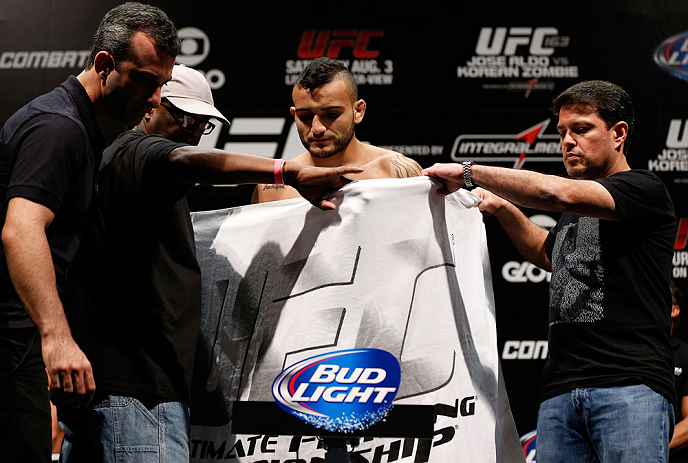 RIO DE JANEIRO, BRAZIL - AUGUST 02:  John Lineker weighs in during the UFC 163 weigh-in at HSBC Arena on August 2, 2013 in Rio de Janeiro, Brazil. (Photo by Josh Hedges/Zuffa LLC/Zuffa LLC via Getty Images)