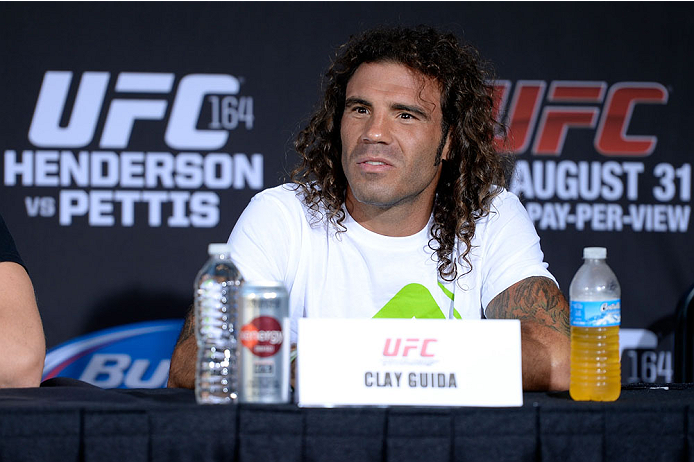 MILWAUKEE, WI - AUGUST 29:  Clay 'The Carpenter' Guida during a UFC press conference at the BMO Harris Bradley Center on August 29, 2013 in Milwaukee, Wisconsin. (Photo by Jeff Bottari/Zuffa LLC/Zuffa LLC via Getty Images)