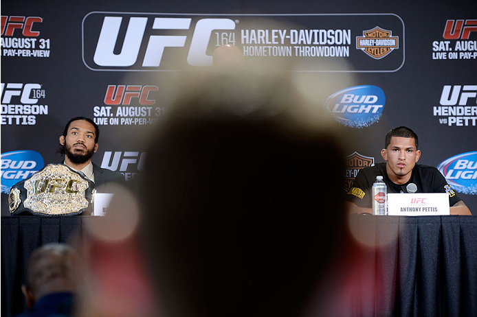 MILWAUKEE, WI - AUGUST 29:  Benson 'Smooth' Henderson (L) and Anthony 'Showtime' Pettis (R) interact with the media during a UFC press conference at the BMO Harris Bradley Center on August 29, 2013 in Milwaukee, Wisconsin. (Photo by Jeff Bottari/Zuffa LLC/Zuffa LLC via Getty Images)