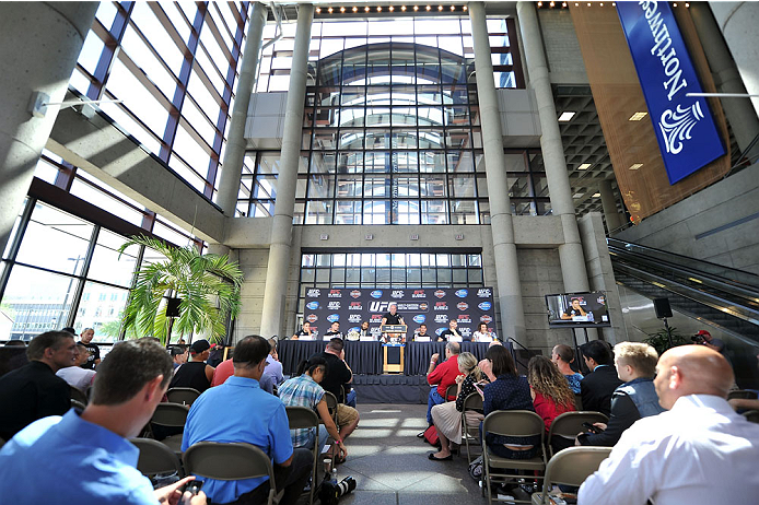 MILWAUKEE, WI - AUGUST 29:  A general view during a UFC press conference at the BMO Harris Bradley Center on August 29, 2013 in Milwaukee, Wisconsin. (Photo by Jeff Bottari/Zuffa LLC/Zuffa LLC via Getty Images)