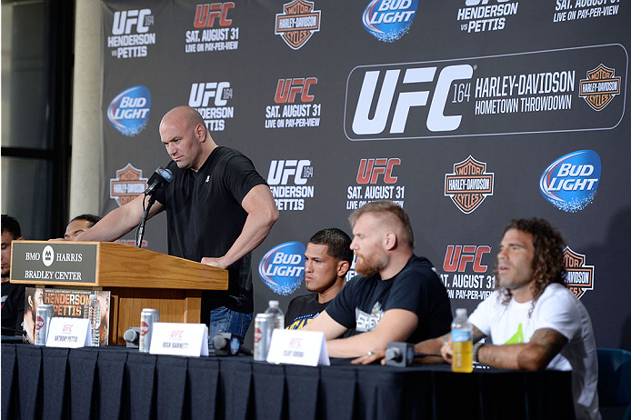 MILWAUKEE, WI - AUGUST 29:  UFC President Dana White interacts with media during a UFC press conference at the BMO Harris Bradley Center on August 29, 2013 in Milwaukee, Wisconsin. (Photo by Jeff Bottari/Zuffa LLC/Zuffa LLC via Getty Images)