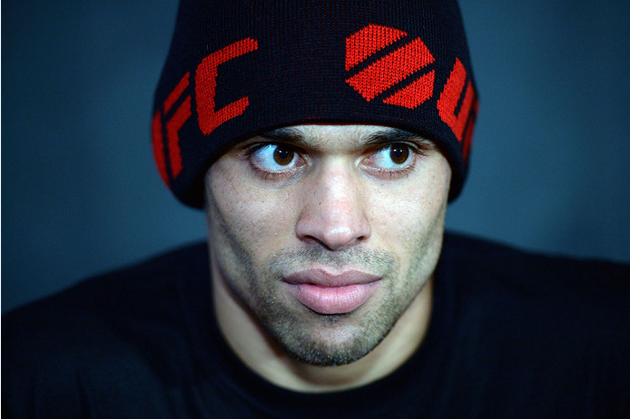 TORONTO, CANADA - SEPTEMBER 19:  UFC interim bantamweight champion Renan Barao speaks with the media during the UFC 165 Ultimate Media Day at the Shangri-La Hotel on September 19, 2013 in Toronto, Ontario, Canada. (Photo by Jeff Bottari/Zuffa LLC/Zuffa LLC via Getty Images) *** Local Caption *** Renan Barao