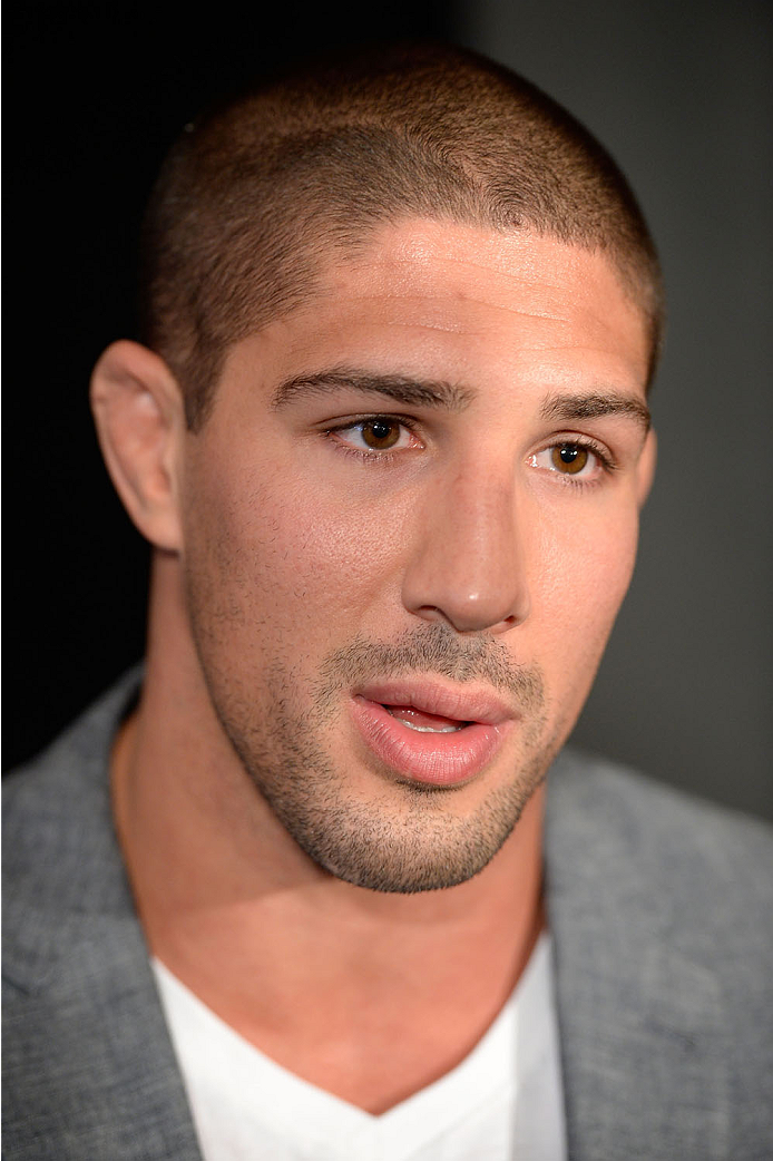 TORONTO, CANADA - SEPTEMBER 19:  UFC heavyweight Brendan Schaub speaks with the media during the UFC 165 Ultimate Media Day at the Shangri-La Hotel on September 19, 2013 in Toronto, Ontario, Canada. (Photo by Jeff Bottari/Zuffa LLC/Zuffa LLC via Getty Images) *** Local Caption *** Brendan Schaub