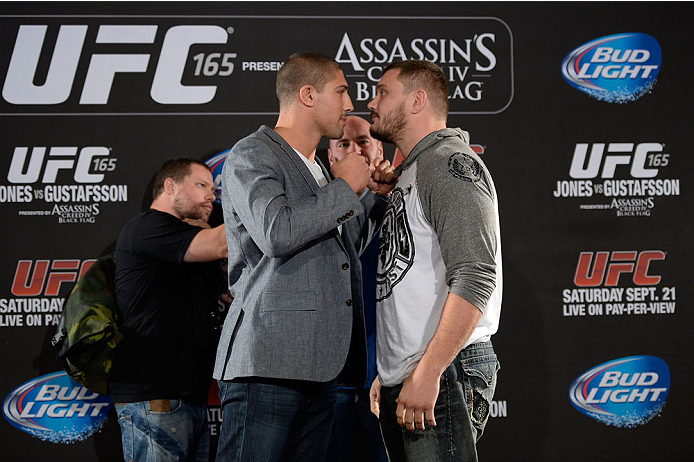 TORONTO, CANADA - SEPTEMBER 19:  (L-R) UFC heavyweights Brendan Schaub and Matt Mitrione square off during the UFC 165 Ultimate Media Day at the Shangri-La Hotel on September 19, 2013 in Toronto, Ontario, Canada. (Photo by Jeff Bottari/Zuffa LLC/Zuffa LLC via Getty Images) *** Local Caption *** Brendan Schaub; Matt Mitrione
