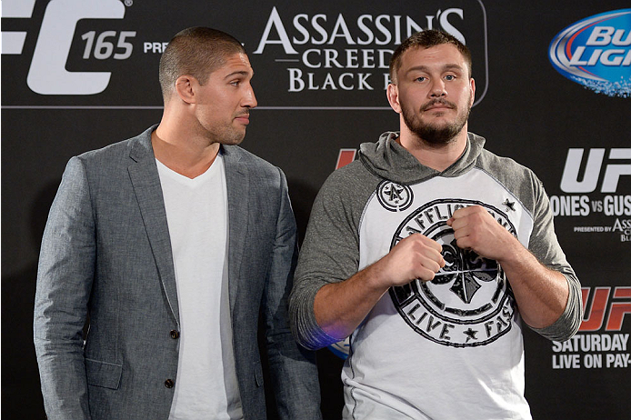 TORONTO, CANADA - SEPTEMBER 19:  (L-R) UFC heavy weight Brendan Schaub stares down Matt Mitrione during the UFC 165 Ultimate Media Day at the Shangri-La Hotel on September 19, 2013 in Toronto, Ontario, Canada. (Photo by Jeff Bottari/Zuffa LLC/Zuffa LLC via Getty Images) *** Local Caption *** Brendan Schaub; Matt Mitrione