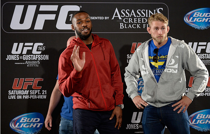 TORONTO, CANADA - SEPTEMBER 19:  (L-R) Jon 'Bones' Jones and Alexander Gustafsson pose for the media during the UFC 165 Ultimate Media Day at the Shangri-La Hotel on September 19, 2013 in Toronto, Ontario, Canada. Jon Jones will defend his light heavyweight championship against Alexander Gustafsson on Saturday September 21, 2013. (Photo by Jeff Bottari/Zuffa LLC/Zuffa LLC via Getty Images) *** Local Caption *** Jone Jones; Alexander Gustafsson