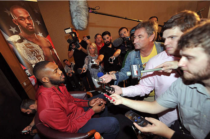 TORONTO, CANADA - SEPTEMBER 19:  UFC light heavyweight champion Jon 'Bones' Jones speaks with the media during the UFC 165 Ultimate Media Day at the Shangri-La Hotel on September 19, 2013 in Toronto, Ontario, Canada. (Photo by Jeff Bottari/Zuffa LLC/Zuffa LLC via Getty Images) *** Local Caption *** Jon Jones