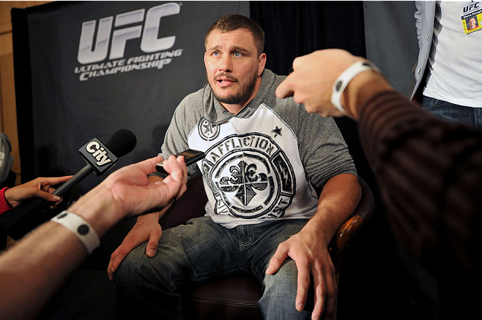 TORONTO, CANADA - SEPTEMBER 19:  UFC heavyweight Matt Mitrione speaks with the media during the UFC 165 Ultimate Media Day at the Shangri-La Hotel on September 19, 2013 in Toronto, Ontario, Canada. (Photo by Jeff Bottari/Zuffa LLC/Zuffa LLC via Getty Images) *** Local Caption *** Matt Mitrione